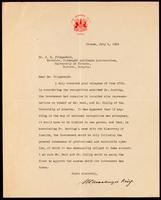 Letter to Dr. J. G. Fitzgerald 5/07/1923
