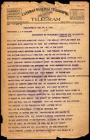 Telegram to Professor J. J. R. Macleod regarding Walden patent 8/04/1923