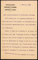 Letter to Monsieur le Professeur Banting 5/02/1923