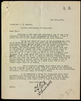 Letter to Professor Macleod 25/01/1922