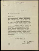 Letter to Sir Robert Falconer 20/07/1922