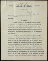 Letter to the Governors of the University of Toronto regarding adding Banting's name to the U. S. patent for insulin 22/02/1923