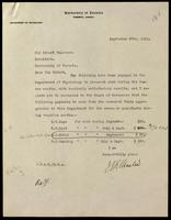 Letter to Sir Robert Falconer 30/09/1921