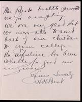 Letter to Sir Robert A. Falconer 17/11/1923