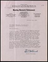 Letter to Sir Robert Falconer regarding the Banting Research Endowment 2/11/1923