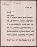 Letter to Sir Robert Falconer 22/11/1923