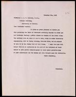Letter to Professor J. J. R. Macleod notifying him of a banquet to be held 26/11/1923