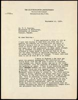 Letter to Dr. F. G. Banting 11/09/1922