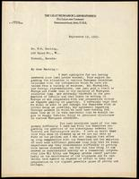 Letter to Dr. F. G. Banting 19/09/1923