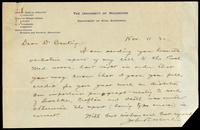 Letter to Dr. Banting 11/11/1922
