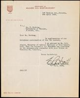 Letter to Dr. F. Banting 8/04/1922