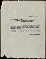 Letter to Dr. Frederick M. Allen 18/08/1922