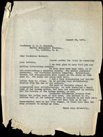 Letter to J. J. R. Macleod 23/08/1922