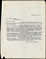 Letter to Dr. Fred M. Allen 31/08/1922