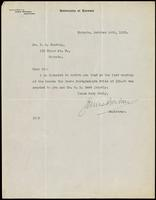 Letter to Dr. F. G. Banting concerning the Reeve Prize 14/10/1922