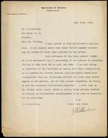 Letter to Dr. F. G. Banting regarding a patent for insulin 31/10/1922