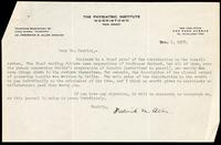Letter to Dr. Banting 1/12/1922