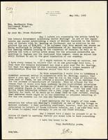 Letter to Prime Minister MacKenzie King 8/05/1923