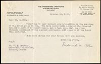 Letter to Dr. F. G. Banting 28/10/1923