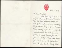 Letter to Banting 26/10/1923