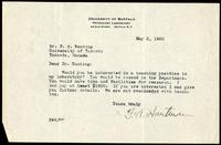 Letter to F. G. Banting 2/05/1922