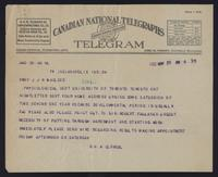 Telegram to Prof J. J. R. Macleod 25/05/1922