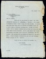 Letter to Dr. G. H. A. Clowes 15/08/1922
