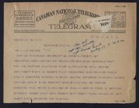 Telegram to Dr. J. J. R. Macleod 17/09/1922