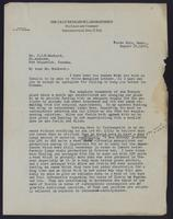 Letter to Dr. J. J. R. Macleod 12/08/1922