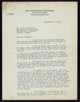 Letter to Dr. J. J. R. Macleod 27/09/1922