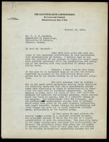 Letter to Dr. J. J. R. Macleod 20/10/1922