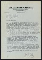 Letter to Dr. J. J. R. Macleod regarding the agreement between the Governors of the University of Toronto and Eli Lilly and company