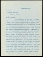 Letter to President Falconer regarding obtaining insulin from yeast 14/03/1923