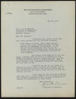 Letter to Dr. J. J. R. MacLeod 19/05/1922