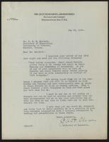 Letter to Dr. J. J. R. MacLeod 19/05/1922