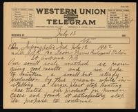 Telegram to Dr. J. J. R. Macleod 12/07/1922