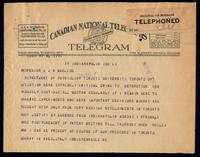 Telegram to Dr. J. J. R. Macleod [ca. 18/11/1922]