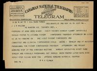 Telegram to J J R Macleod 18/11/[1922]