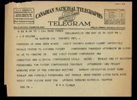 Telegram to J J R Macleod 18/11/[1922]