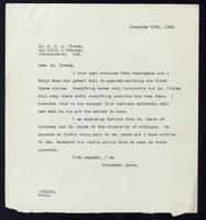 Letter to Dr. G. H. A. Clowes 30/11/1922