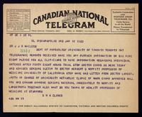 Telegram to Dr. J. J. R. Macleod 10/01/1923