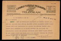 Telegram to Dr. Macleod 29/01/1923