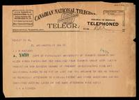 Telegram to Prof J. J. R. Macleod 10/02/1923