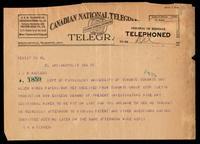 Telegram to Prof J. J. R. Macleod 10/02/1923