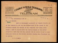 Telegram to Dr. J. J. R. Macleod 14/02/1923