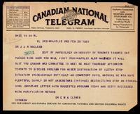 Telegram to J J R Macleod 23/02/1923