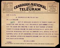 Telegram to J J R Macleod 23/02/1923