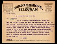 Telegram to Prof J. J. R. Macleod 08/03/1923
