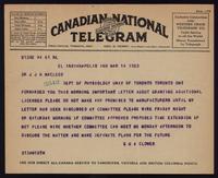 Telegram to Dr. Macleod 14/03/1923