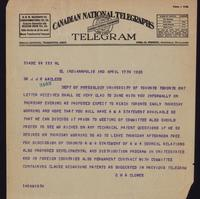 Telegram to Dr. Macleod 17/04/1923